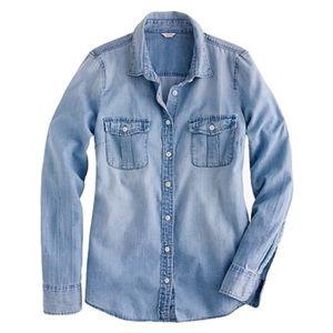 J.Crew Perfect Shirt Chambray Button Down Shirt XL